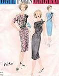 1950s  Vogue Paris Original 1465 PATOU Cocktail Evening Dress Pattern 2 Pc  ASYMMETRICAL Front Drape High or Low Back  Bust 34 Vintage Sewing Pattern UNCUT