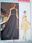 1970s DIOR ONE SHOULDER EVENING DRESS PATTERN STUNNING DESIGN, 2 LENGTHS, VOGUE PARIS ORIGINAL 2957