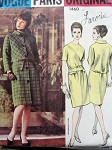 1960s LAROCHE Slim Dress and Coat Pattern VOGUE PARIS ORIGINAL 1460 Lovely Lower Waist Dress Day or  Evening Bust 32 Vintage Sewing Pattern