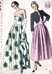 1940s BEAUTIFUL EVENING DRESS, BOLERO PATTERN CUFFED STRAPLESS BODICE, SOFTLY PLEATED, SHORTIE JACKET SIMPLICITY PATTERNS 2442