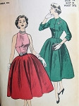 1950s  3 PC EVENING DRESS JACKET PATTERN FLATTERING BUTTON BACK HALTER FRONT BLOUSE, FULL SKIRT, FITTED SHORT JACKET BEAUTIFUL DESIGN ADVANCE PATTERNS 6202