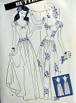1940s  EVENING DRESS BALLROOM GOWN PATTERN LOW WIDE SWEETHEART NECKLINE, BASQUE BODICE, LONG TORSO STYLE, DIRNDL SKIRT PERFECT FOR DANCING BUTTERICK 3013