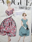 1950s EVENING COCKTAIL DRESS PATTERN BARREL SHAPE SKIRT, LOVELY SHAPED LOW NECKLINE VOGUE SPECIAL DESIGN 4853