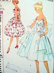 1960s Bubble Skirt Cocktail Party Prom Dress Pattern SIMPLICITY 3015 Lovely Evening Dress With Pouf or Full Skirt Version Includes Stole Bust 31.5 Vintage Sewing Pattern FACTORY FOLDED