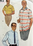 1950s  Gentlemens Shirt Pattern Sports Casual or Dress Shirt Version Simplicity 2081