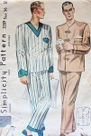 1930s  MENS PAJAMAS PATTERN V NECKLINE SIMPLICITY 2289