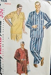1950s Pajama Pattern Nightshirt Simplicity 4108 Sewing Vintage Mens Size Small Chest 34 - 36 Inches