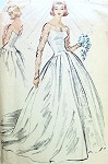 1950s DREAMY WEDDING GOWN BRIDAL DRESS PATTERN McCALLS 4358 FITTED ELONGATED BODICE, LONG TRAIN VERSION JUST GORGEOUS DESIGN