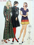 1960s Bohemian Dress Pattern  3 Lengths, 3 Lovely Sleeve Styles , 2 Necklines Butterick 6432 Bust 33.5 Uncut