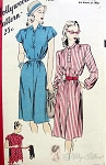 1940s Easy To Sew Dress Pattern Straight Belted Shirt Dress Factory folded Hollywood Patterns