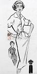 1950s  Slim Shirt Dress Pattern Classic Style, Sleeveless or Short Sleeves