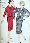 1950s Suit Pattern Vogue 9661 Slim Skirt, Semi Fitted Shorter Jacket Chanel  Style Bust 40