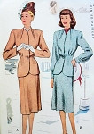1940s  Suit Pattern Unique Collar, Nipped In Waist 2 Pc Suit Factory Folded Vintage Sewing Pattern McCall 6839 Bust 32