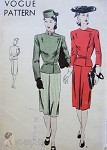 1940s Stylish Suit Pattern Fitted Side Closing Belted Jacket Slim Skirt Vogue  9765 Vintage Sewing Pattern Bust 36