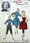 1950s Halter Apron Dress Capri Pants and Blouse Pattern Advance American Designer 5992 Jeanne Campbell  Vintage Sewing Pattern Bust 34 FACTORY FOLDED