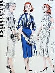 1950s Slim 2 Pc Dress Coordinates Pattern 2 Blouse styles, Slim Inverted Front Pleat Skirt Butterick 8024 Vintage Sewing Pattern  Factory Folded Bust 36