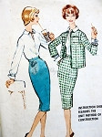 1950s 3 PC Suit Pattern Pencil Slim Skirt, Slit Neckline Tuck In Blouse Box Jacket McCalls 5073 Vintage Sewing Pattern  Bust 34