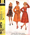 1970 Lovely Dress Mini or Midi Pattern Smocked Sleeves  Cute Styles McCalls 2605 Vintage Sewing Pattern UNCUT Bust 38