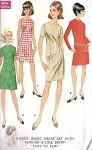 1960s Mod A Line or Slim Skirt Shift Dress Vintage Sewing Pattern McCalls 9087 UNCUT Bust 38