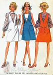 1970s  Jumper or Dress ,Puff Sleeves Blouse Pattern McCalls 9738 Vintage Sewing Pattern Bust 32 UNCUT