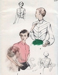 1950s Lovely Soft Tailored Blouse Pattern Striking V Shape Tucks Version, Shaped Collar Butterick 5118 Vintage Sewing Pattern FACTORY FOLDED Bust 32
