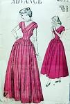 1940s Lovely Evening Formal Dress Pattern V Necklines Full Skirt 2 Lengths Advance 4822 Vintage Sewing Pattern Bust 34