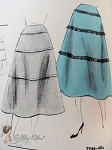1950s Skirt Pattern Three Tiers Flared Skirt Vogue 7946 Vintage Sewing Pattern FACTORY FOLDED Waist 26