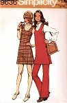 1970s Mini Side Wrap Dress Jumper or Tunic With Pants Pattern Cute Style Simplicity 9636 Vintage Sewing Pattern UNCUT Bust 36 & 38