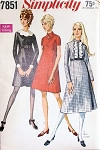 1960s Mod High Waist Dress Pattern Flattering Princess Seamed 3 Styles Detachable Collar and Cuffs,Regular or Midi Length Simplicity 7851 Vintage Sewing Pattern UNCUT Bust 32.5