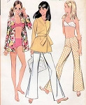 1960s McCalls Beach Wear Sewing Pattern Bathing Suit Resort Wear Pants Wrap Top Retro Bikini Beach Cover Up UNCUT