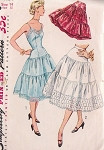 1950s Pretty Slip and Petticoat Pattern Simplicity 4137 Tiered Full Slip or Half Slip Crinoline Lingerie Bust 34 Vintage Sewing Pattern