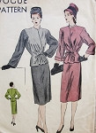 1940s Classy Peplum Suit Pattern Beautiful Details, 2 Sleeve Styles Surplice Closing, Slim Skirt Vogue 5514 Vintage Sewing Pattern Bust 32