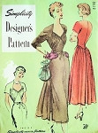 1940s Gorgeous Party Dinner Evening Dress Pattern Simplicity Designers 8028 Vintage Sewing Pattern Low Shaped Neckline Draped Bodice Lovely Flowing Skirt Bust 30