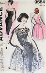 Stunning Cocktail Evening Sheath Dress and Over Dress Pattern 1960 Mad Men Era Bateau Neckline, Low  Back Slim or Full Skirted Advance 9584 Vintage Sewing Pattern Bust 34