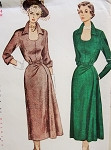 1950 Eye Catching Side Flared Dress Pattern Striking Horse Shoe Neckline Dramatic Stand Up Collar Slim Skirt Flares Gracefully to One Side Simplicity 3314 Vintage Sewing Pattern Bust 32