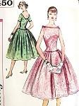 1950s Lovely Cocktail Party Dress Pattern Simplicity 2450 Vintage Sewing Pattern Bateau Neckline Low U Back, Beautiful  Bouffant Skirt  UNCUT FACTORY FOLDED  Bust 34