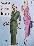 1940s Classy Slim Coat Dress Pattern Front Button With Shawl Collar Pockets On Peplum Simplicity Designers 8060 Vintage Sewing Pattern UNCUT Bust 32