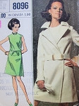 1960s Mod Dress and Coat Pattern  Dress Has Lower Waistline, Coat is A Wrap Coat Chic 60s Simplicity Designer Fashion 8096 Vintage Sewing Pattern Bust 34