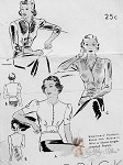 1930s Beautiful Art Deco Blouse Pattern 3 Stunning Overblouse Styles, Attached Peplum  Butterick 7597 Vintage Sewing Pattern Beginners Pattern Bust 34