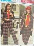 70s Vogue Paris Original 2615 Vintage Sewing Pattern Christian Dior Catherine Deneuve Style Pants Suit MensWear for Women Jacket, Skirt, Pants, Shorts, Shirt and Tie Bust 36