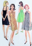 1960s Mod Evening Cocktail Party Dress Pattern McCalls 8996 Vintage Sewing Pattern Fab Slim or Tent Dress Flattering Criss Cross Neckline Bust 32