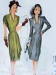 1940s Film Noir Cocktail Evening Dress Pattern Stunning Draped Dinner Dress, Cut Out Keyholes Neckline McCall 6659 Vintage Sewing Pattern Bust 32