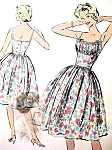 1950s Bombshell Midriff Dress Pattern Perfect Evening Party or Sundress Gathered Bust Shelf, Very Marilyn Monroe Brigitte Bardot Style Bust 32 Advance 9077 Vintage Sewing Pattern
