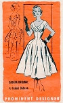 1950s Lovely Party Evening Cocktail Dress Pattern Cabana Original Prominent Designer A741 Vintage Sewing Pattern Flattering Surplice Wide Low Neckline Full Fitted Flared Skirt Bust 30