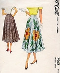 1950s Pretty Circle Skirt Pattern McCall 7962 Vintage Sewing Pattern  Only 3 Pcs Easy To Sew Waist 24