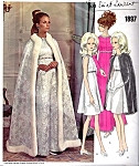1960s Vintage Yves Saint Laurent  Vogue Paris Original 1897 Sewing Pattern Empire Evening Gown or Cocktail Dress With Regal Cape Perfect Formal Gala Evening Bust 38 Includes Sew in Vogue Label