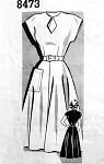 1940s Lovely Dress Pattern Striking Keyhole Neckline, Large Side Pocket Full Skirt Film Noir Style Dress Mail Order 8473 Vintage Sewing Pattern  Bust 32