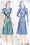 1940 Pretty Dress and Turban Hat Pattern Simplicity 3384 Vintage Sewing Pattern WW II War Time Style Bust 34