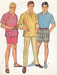1960s Mens Casual Shirt Slim Pants and Bermuda Shorts Pattern Simplicity 7145 Vintage Pattern Mad Men Era