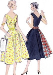 1950s Dress Pattern McCalls 9787 Full Skirt V NeckLine Figure Flattering Fitted Bodice Sundress Vintage Sewing Pattern Bust 30